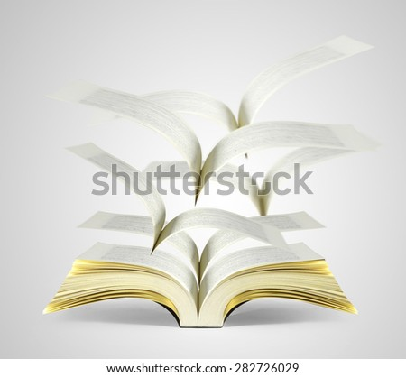 magical world of reading,open  magic book - stock photo