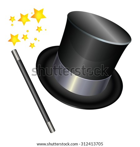 Magician hat  and a magic wand on white background