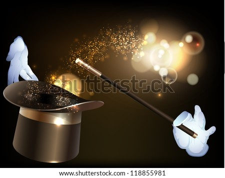 Magician hat and magic wand with gold dust/Magic hat - stock photo