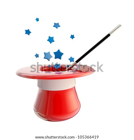 Magician hat and magic wand with stars inside it, isolated on white