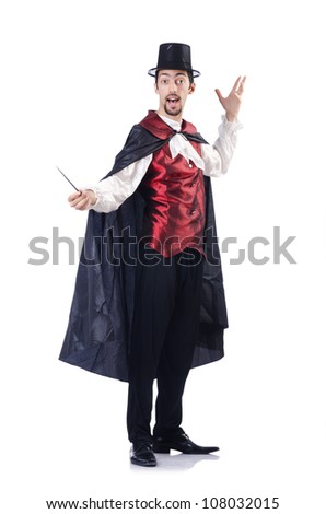 Magician isolated on the white background - stock photo