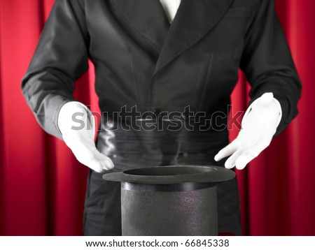 magician make something appear unexpectedly. - stock photo
