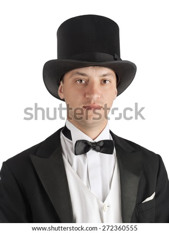 magician man in suit on white background - stock photo