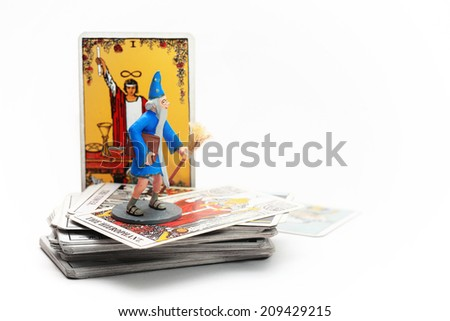 Magician on tarot card. - stock photo