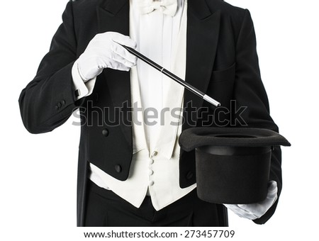 Magician performance with hat and  wand isolated on a white background - stock photo