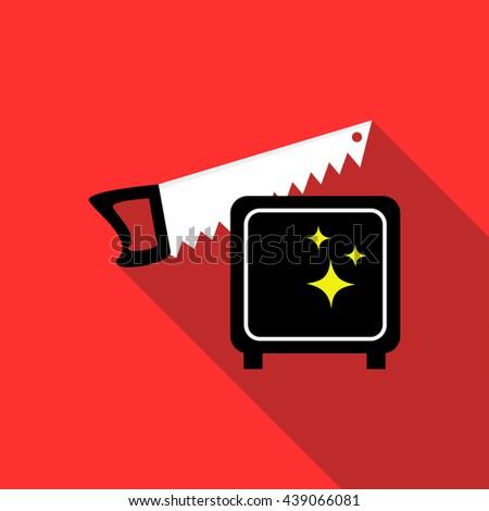 Magician sawing box icon, flat style - stock photo
