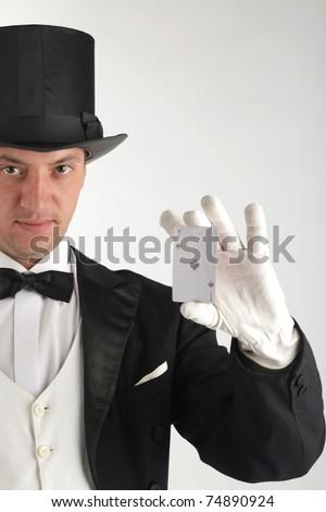 magician show card - stock photo