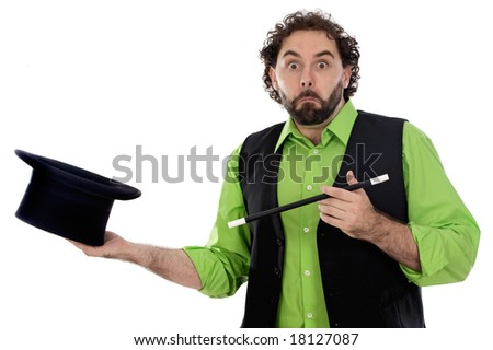 magician with a top hat and barite on a white background - stock photo