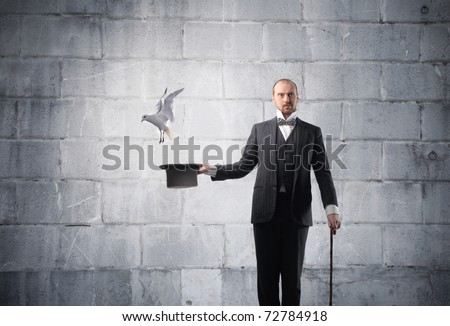 Magician with bird flying away from his cylinder hat - stock photo