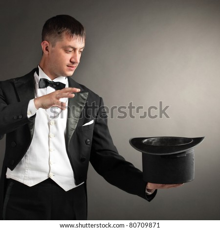 magician with hat - stock photo