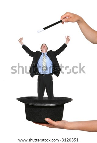 Magicians hat with a business man coming out - stock photo