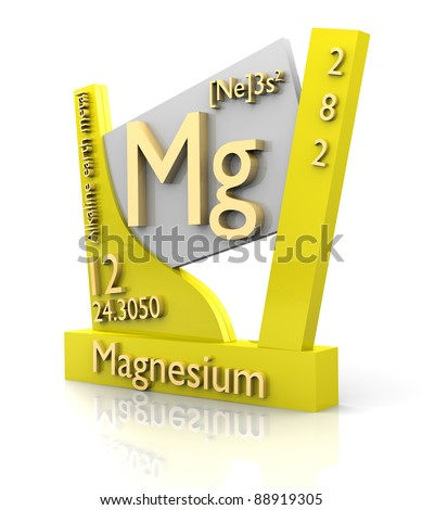 Magnesium form Periodic Table of Elements - 3d made - stock photo