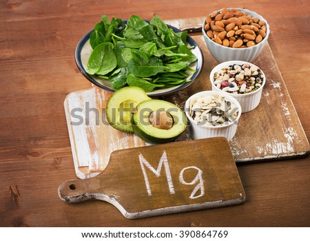 Magnesium Rich Foods on  wooden table. - stock photo