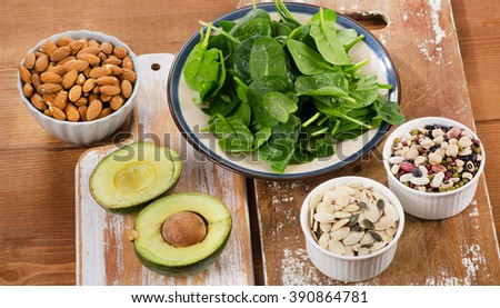 Magnesium Rich Foods on  wooden table. Top view - stock photo