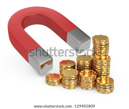 Magnet and golden coins isolated on white - stock photo