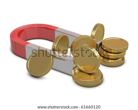 Magnet and golden coins isolated on white background - stock photo