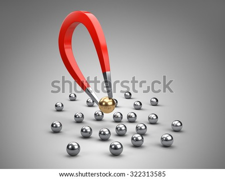 Magnet attracting gold ball.  concept for marketing and business leadership - stock photo