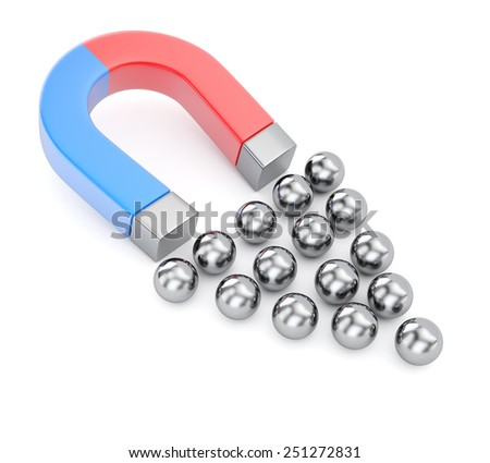 Magnet attracts metal spheres isolated on white background. 3d render - stock photo