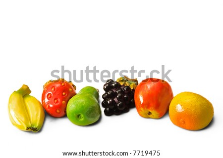 magnet fruit on white background