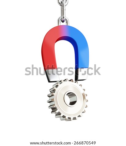 magnet gear on white background - stock photo