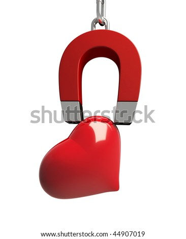 magnet heart - stock photo