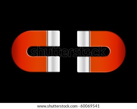 Magnet horseshoe shape - stock photo