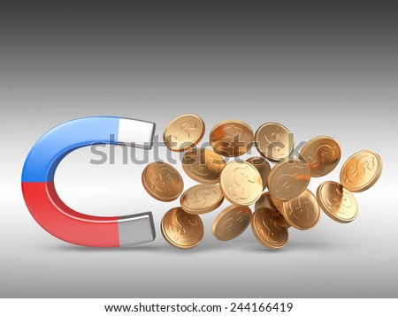 Magnet with golden coins isolated on white background, Business concept 3d illustration - stock photo