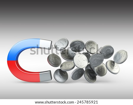 Magnet with silver coins isolated on white background, Business concept 3d illustration - stock photo