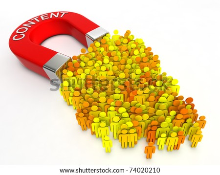 Magnet with title CONTENT attracts hand cursors. - stock photo