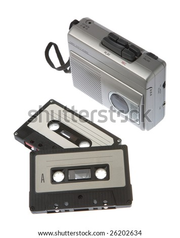Magnetic audio tape cassette recorder isolated on white - stock photo
