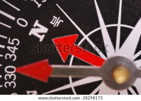 magnetic compass that indicated north with English and Korean - stock photo