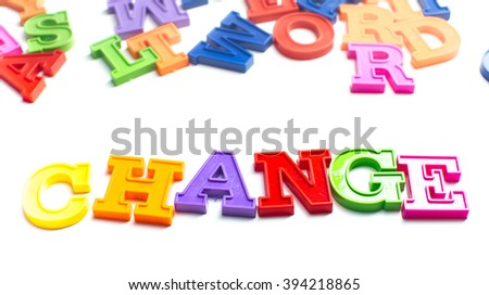 Magnetic plastic letters isolated on white background