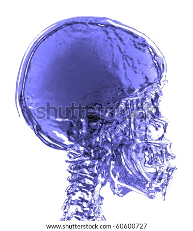 magnetic resonance (MR) 3d blue skull - stock photo