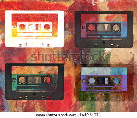 magnetic tape cassette abstract color vintage background - stock photo