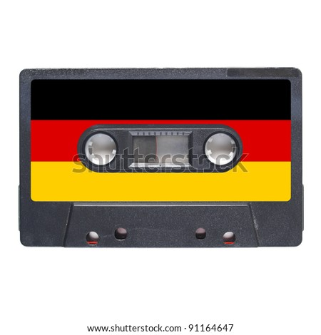 Magnetic tape cassette for audio music recording - German music - stock photo