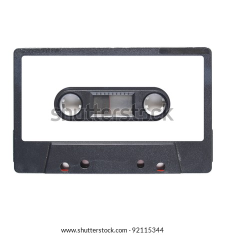 Magnetic tape cassette for audio music recording - isolated over white background - blank label - stock photo
