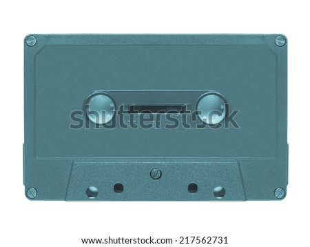 Magnetic tape cassette for audio music recording - isolated over white background - cool cyanotype - stock photo