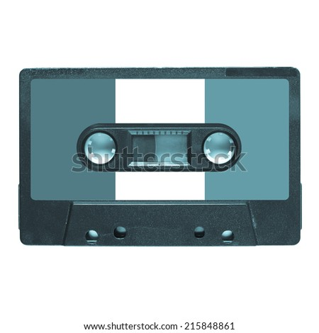 Magnetic tape cassette for audio music recording - Italian music - cool cyanotype - stock photo
