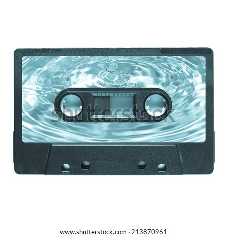 Magnetic tape cassette for audio music recording - water droplet label - cool cyanotype - stock photo
