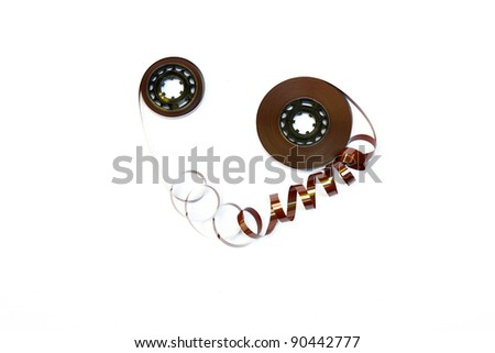 magnetic tape on white - stock photo