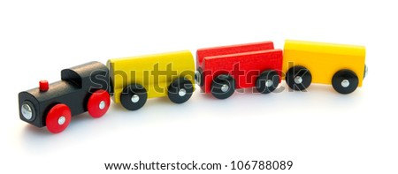 Magnetic train locomotive with carriages - stock photo