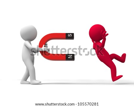 magnetic/Two men and a magnet - stock photo