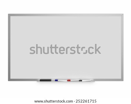 Magnetic white board with colored markers, isolated on a white background - stock photo