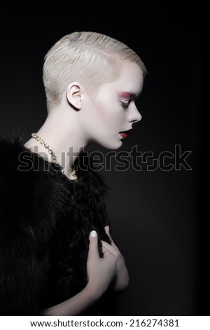 Magnetism & Attractiveness. Profile of Snazzy Stylish Woman Blonde - stock photo