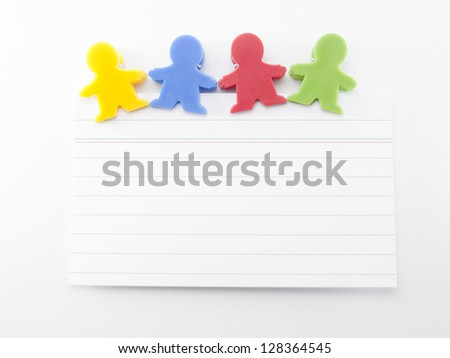 magnets shaped kids colors with note paper - stock photo