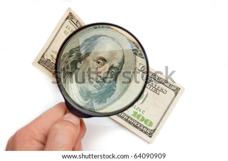 Magnification banknotes of $ 100 - stock photo