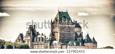 Magnificence of Hotel Chateau de Frontenac, Quebec Castle. - stock photo