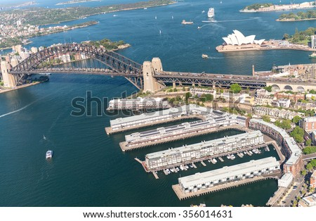 Magnificence of Sydney skyline, aerial view. - stock photo