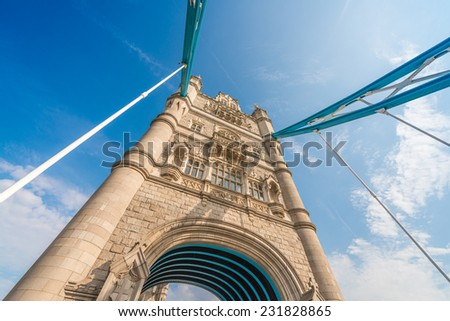 Magnificence of Tower Bridge on a sunny day - London. - stock photo
