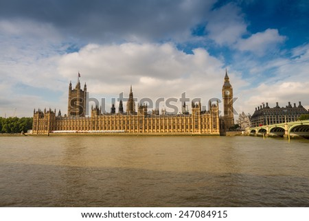 Magnificence of Westminster Bridge and Houses of Parliament, London. - stock photo